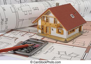bâtiment, maison, plan