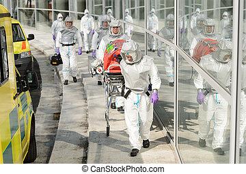 bâtiment, marche, biohazard, équipe soignant