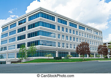 bâtiment, md, cube, bureau, formé, moderne, lot, stationnement