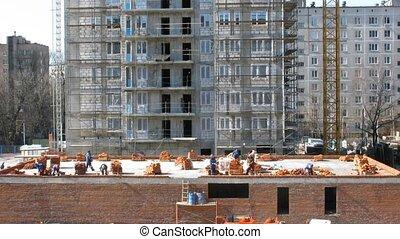 bâtiment., mettre, défaillance, temps, ouvriers, brique
