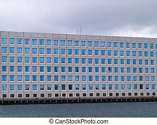 bâtiment, moderne, bureau corporation