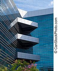 bâtiment, moderne, constitué, détails, bureau