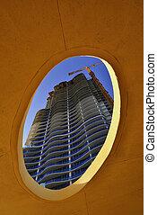 bâtiment, moderne, construction.