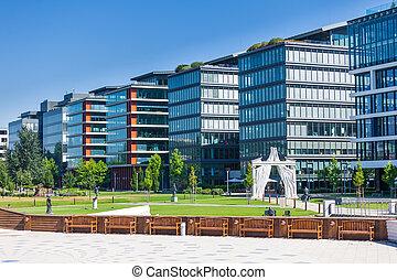 bâtiment, moderne, détail, bureau