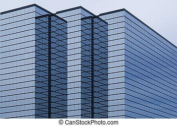 bâtiment, moderne, extérieur, bureau, verre