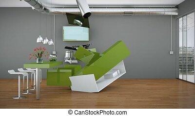 bâtiment, moderne, haut, conception, intérieur, cuisine, 3d