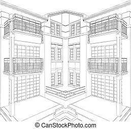 bâtiment, moderne, maison, résidentiel