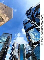bâtiment, moderne, paysage, hong kong