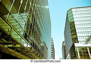bâtiment, moderne, reflet, business, bâtiment.