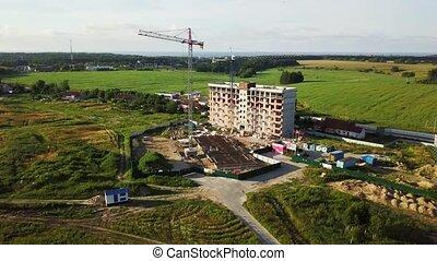 bâtiment, multi-storey, construction, vue aérienne