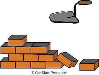 bâtiment, mur, brique