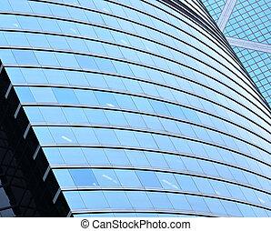 bâtiment, mur, transparent, bureau, verre