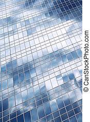 bâtiment, nuages, reflet, bureau