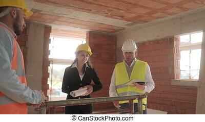 bâtiment, ouvriers, site, construction, équipe, nouveau, réunion, intérieur