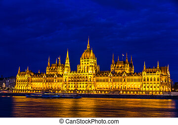 bâtiment parlement, hongrois, night.