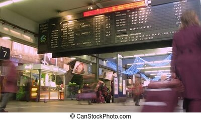 bâtiment, passagers, lapse., paris, départ, france., station, planche, temps, trains