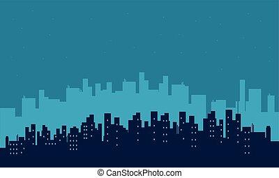 bâtiment, paysage, silhouette