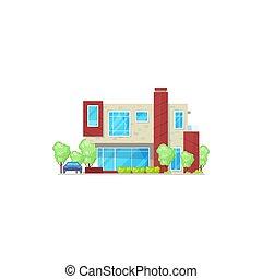 bâtiment, petite maison, hôtel, résidentiel, isolé, maison