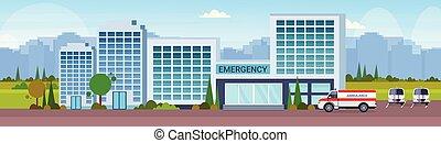 bâtiment, plat, extérieur, voiture, hôpital, moderne, illustration, clinique, vecteur, fond, ambulance, cityscape, horizontal, bannière, monde médical