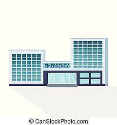 bâtiment, plat, façade, extérieur, mur, hôpital, moderne, verre, clinique, fond, devant, blanc, monde médical, vue