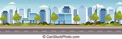 bâtiment, plat, financier, gratte-ciel, monde médical, ville, panorama, hôpital, moderne, fond, horizon, cityscape, clinique, banque, extérieur, devant, horizontal, bannière, institution, urbain, vue