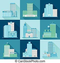 bâtiment, plat, monde médical