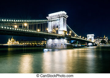 bâtiment, pont, budapest, parlement, chaîne, hongrois, nuit