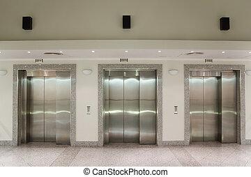 bâtiment, portes, bureau, trois, ascenseur, couloir