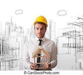 bâtiment, projet, architecte