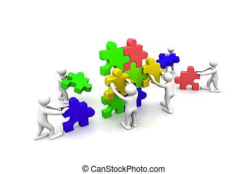 bâtiment, puzzles, collaboration, business, ensemble