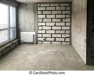 bâtiment, réparation, appartement, disposition, pendaison crémaillère, grand, réparation, murs, gratuite, wall., décoration, panoramique, fenêtre, sans, nu, francais, nouveau, entier, concept: