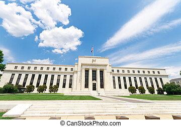 bâtiment, réserve, washington, usa, banque, dc, fédéral