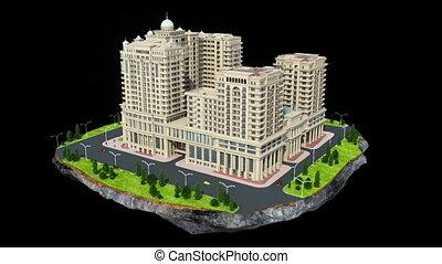 bâtiment, résidentiel, construction, grand