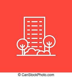 bâtiment, résidentiel, ligne, icon., arbres