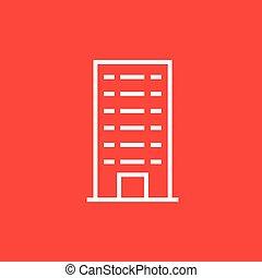 bâtiment, résidentiel, ligne, icon.