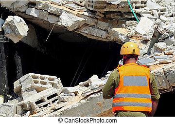 bâtiment, recherche, secours, après, décombres, par, désastre