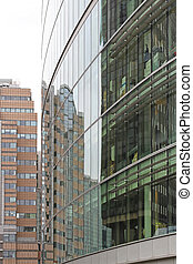 bâtiment, reflet, bureau