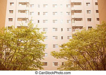 bâtiment, regarder, résidentiel, monter, haut haut