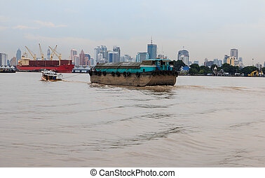 bâtiment, rivière, bangkok, fond, chaopraya, crépuscule, paysage