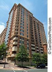 bâtiment, rosslyn, moderne, appartement, gratte-ciel, copropriété, tour