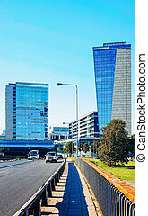 bâtiment, rue, ville, verre, architecture, bureau affaires, moderne