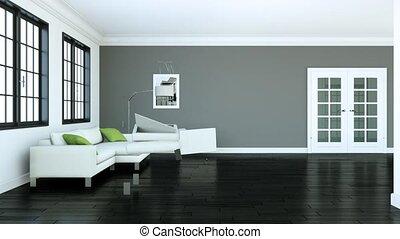 bâtiment, salle de séjour, moderne, haut, conception, intérieur, 3d