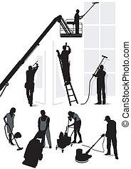 bâtiment, services, nettoyage