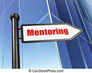 bâtiment, signe, mentoring, fond, education, concept: