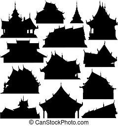 bâtiment, silhouettes, temple