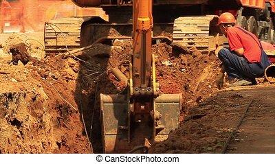 bâtiment, site., jaune, excavateur