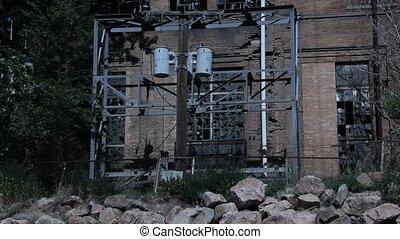 bâtiment, sombre, abandonnés