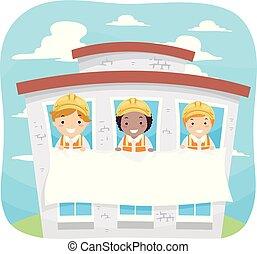 bâtiment, stickman, gosses, bannière, illustration