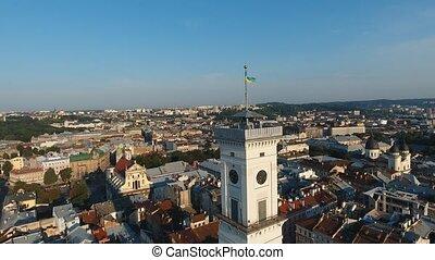 bâtiment, supérieur, aerial:, coup, ville, lviv, partie, central, principal, vue