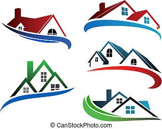 bâtiment, symboles, toits, maison